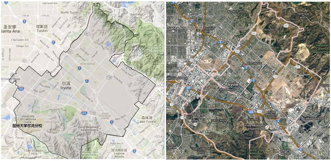 尔湾地理条件与卫星地图 来源:谷歌地图图片