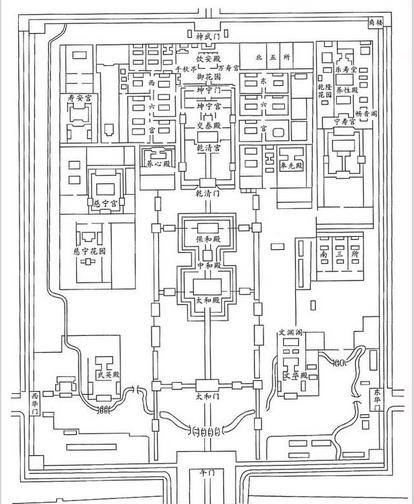 跟故宫比比   北京故宫平面图 北京故宫有阅是楼,是帝后听戏的地方