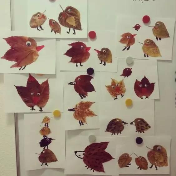 幼儿园树叶粘贴画手工,美爆了!