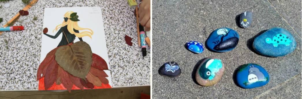 石头,植物种子,花卉等)进行手工创作,目前主要开设有叶脉书签,树叶拼