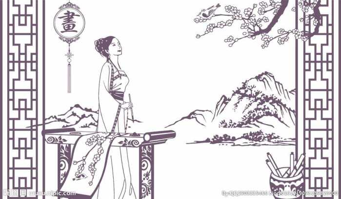 古代美女赏月手绘