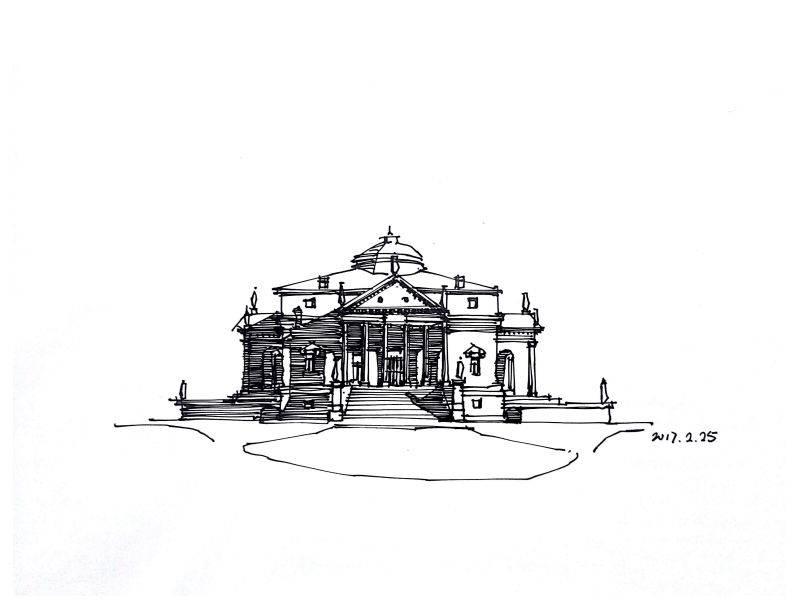 史密斯别墅效果图手绘