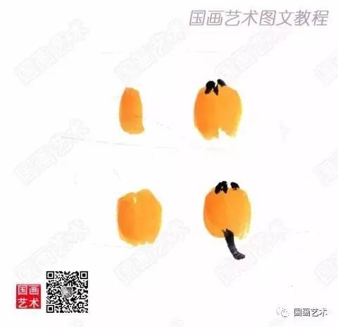 3.枇杷果的画法   枇杷果实以藤黄 并以重墨干笔画出果柄.