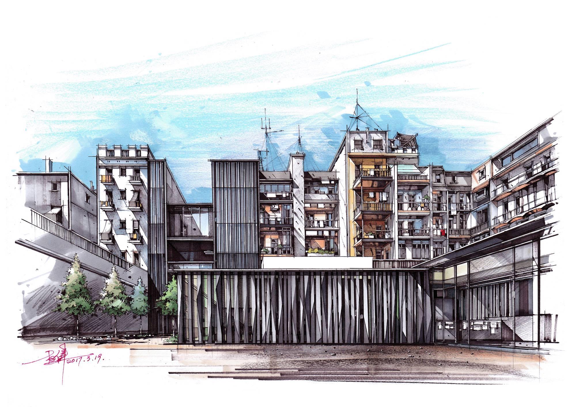 文字:卓越手绘建筑考研教师 周子乔   手绘作品:卓越手绘教育机构