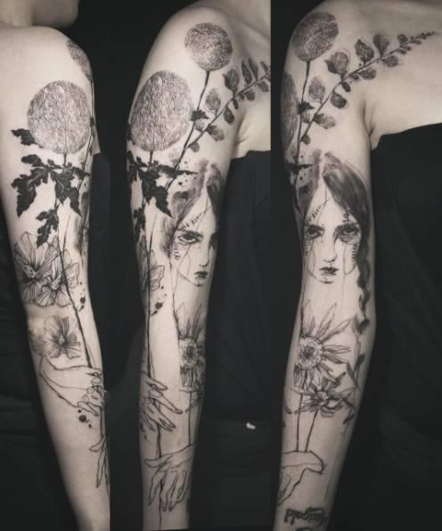 忘掉那些奇葩的汉字纹身,这5个纹身师的中国水墨风格