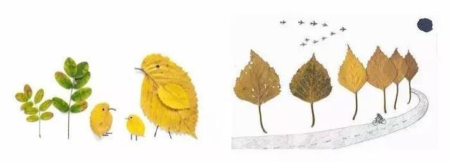 幼儿园亲子手工之废物利用,树叶做粘贴画吊饰图片