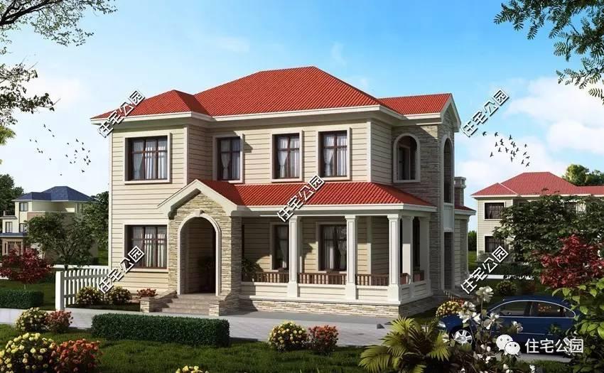 坡屋顶设计,优雅时尚的弧形窗点缀,这是一栋现代感十足的欧式双层别墅