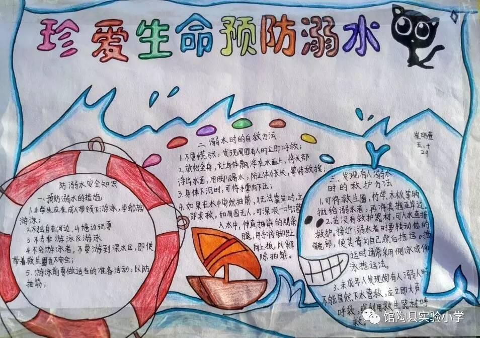 馆陶县实验小学防欺凌,防溺水手抄报展览图片