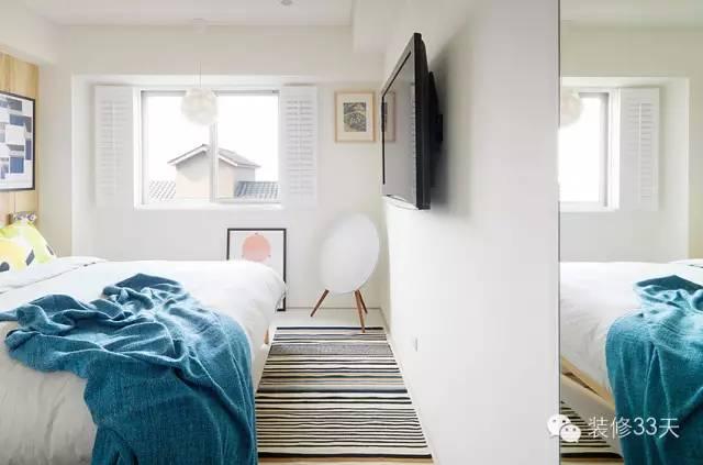 其它 正文                 ▲ 白色卧室,床头墙面用木板包起来,让图片