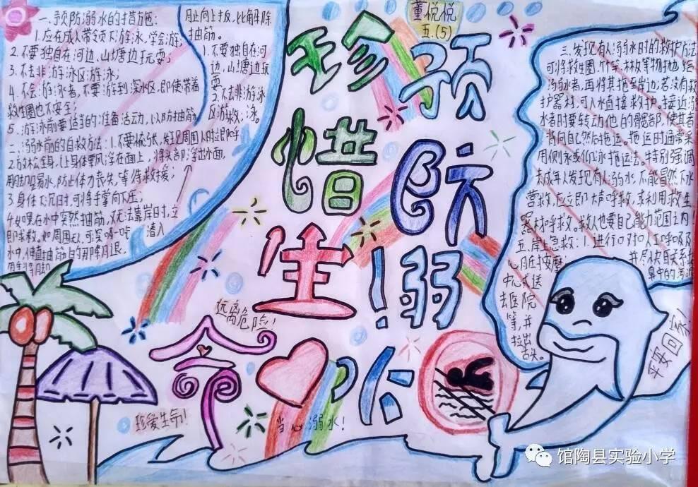 馆陶县实验小学防欺凌,防溺水手抄报展览