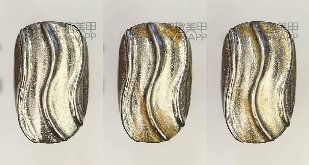 【窝趣美甲视频教程】 魔镜质感,浮雕手绘大理石纹