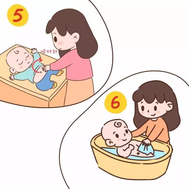 可以让宝宝放松,在宝宝洗澡的过程中,妈妈也可以轻轻的按摩宝宝的腹部图片