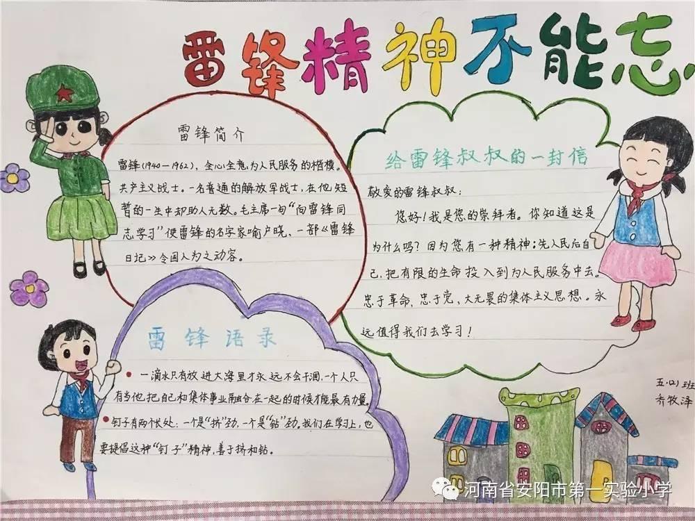 """小学三,四,五年级各中队开展了""""学习雷锋精神 争做雷锋传人""""手抄报"""