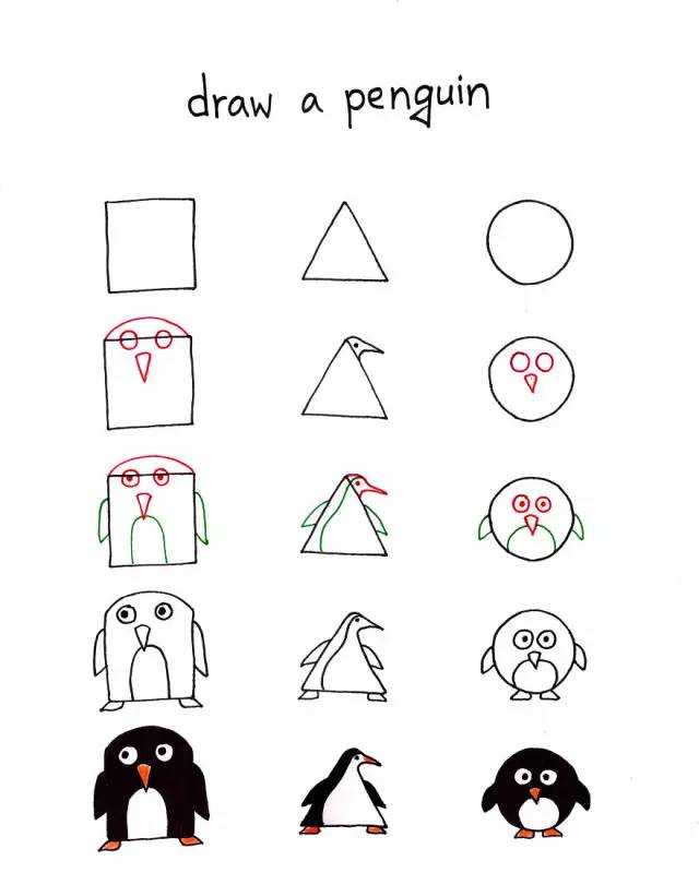 20种方形简笔画!小动物们都好方