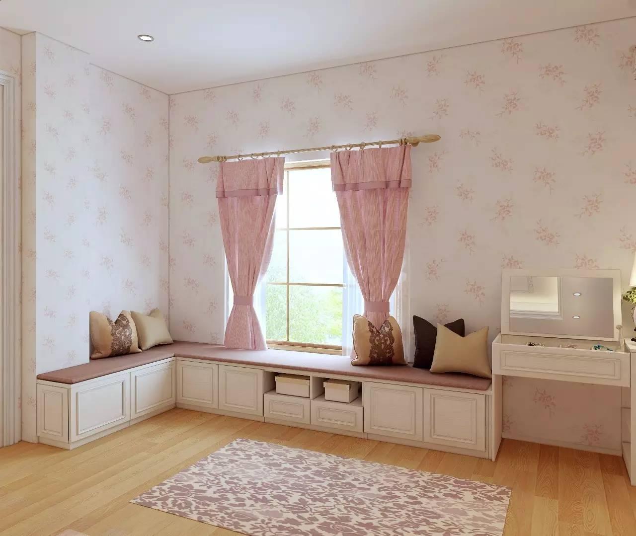 衣柜和梳妆台及飘窗连在一起,让卧室的角落成为休闲打扮的好场所图片