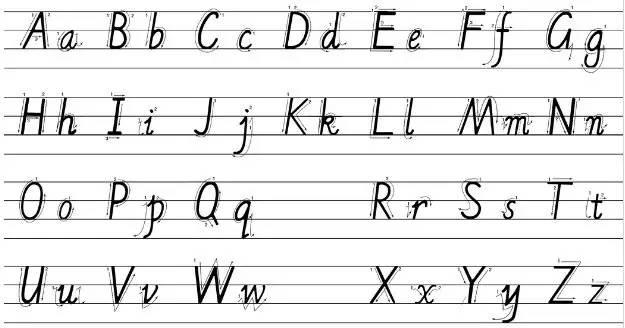 能按照四线三格正确书写26个字母的大小写并书读字母图片