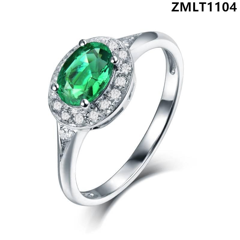 椭圆形祖母绿戒指款式图片