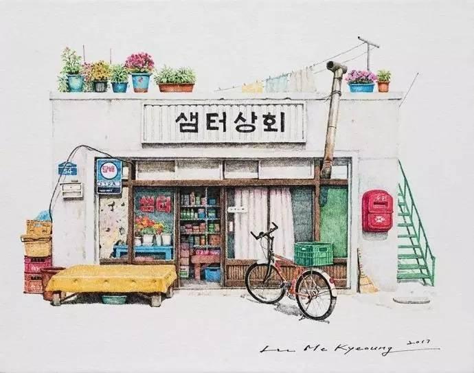 韩国插画师20年手绘的街角便利店