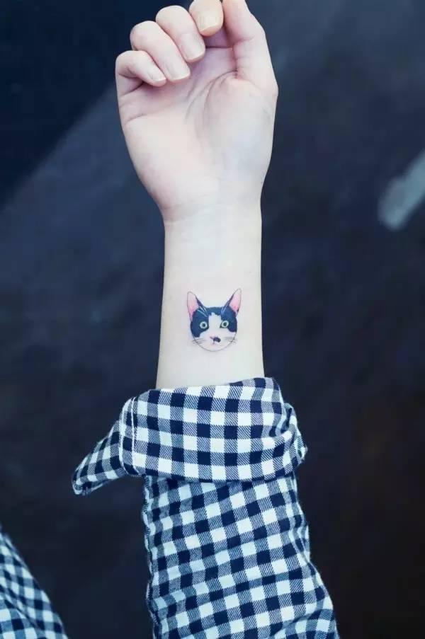 除了素色或简单线条的小清新款式,色彩跳跃的猫图案纹身更加活泼灵动