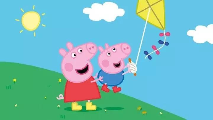 放风筝卡通-来场比佩佩猪一家更牛的春游图片