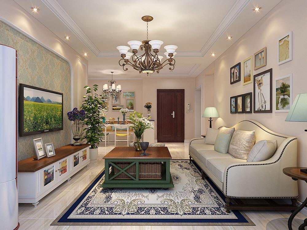 启锐园三室一厅美式装修效果图