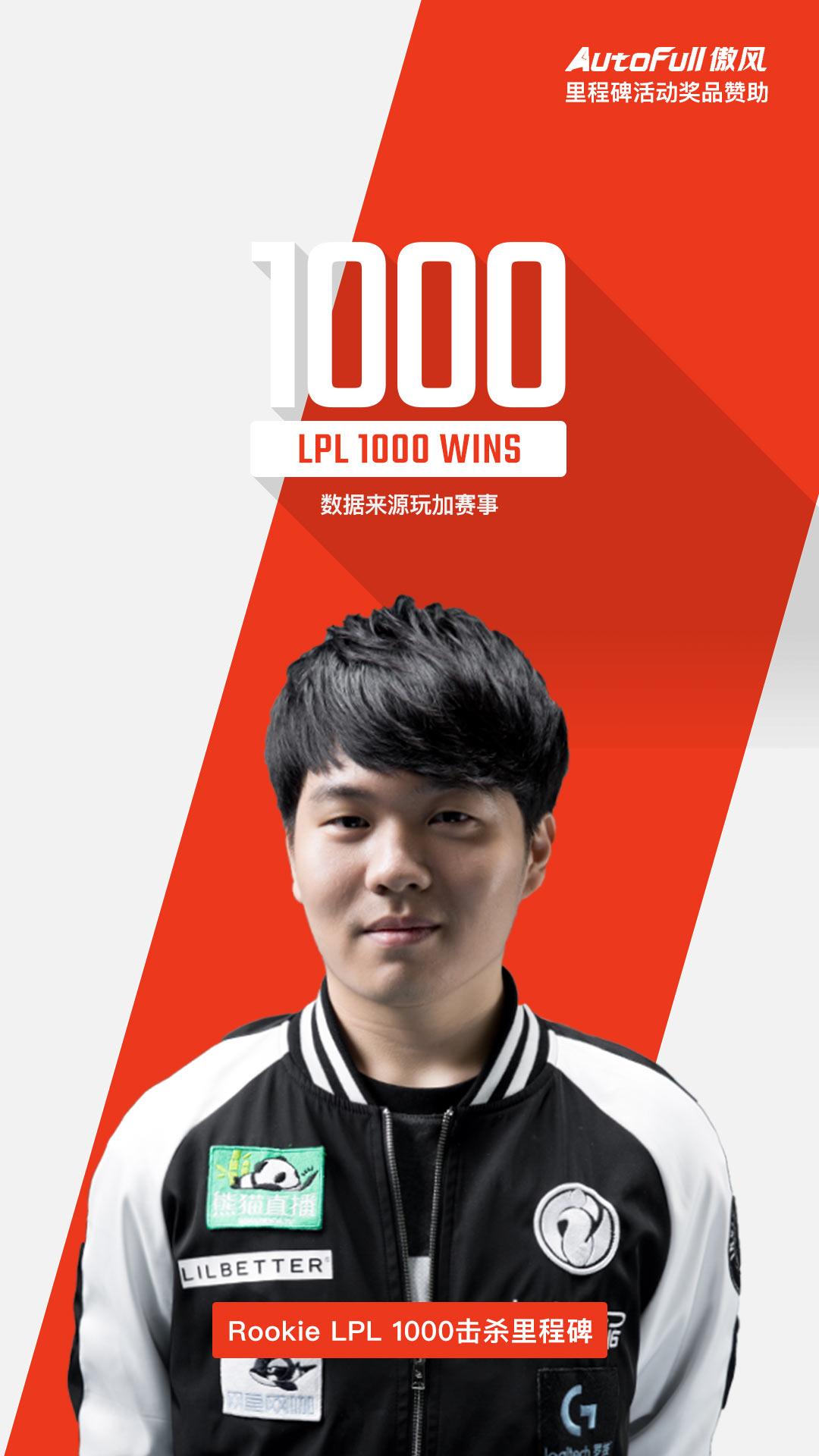 Rookie成为LPL总击杀排名!第九 1000的选手