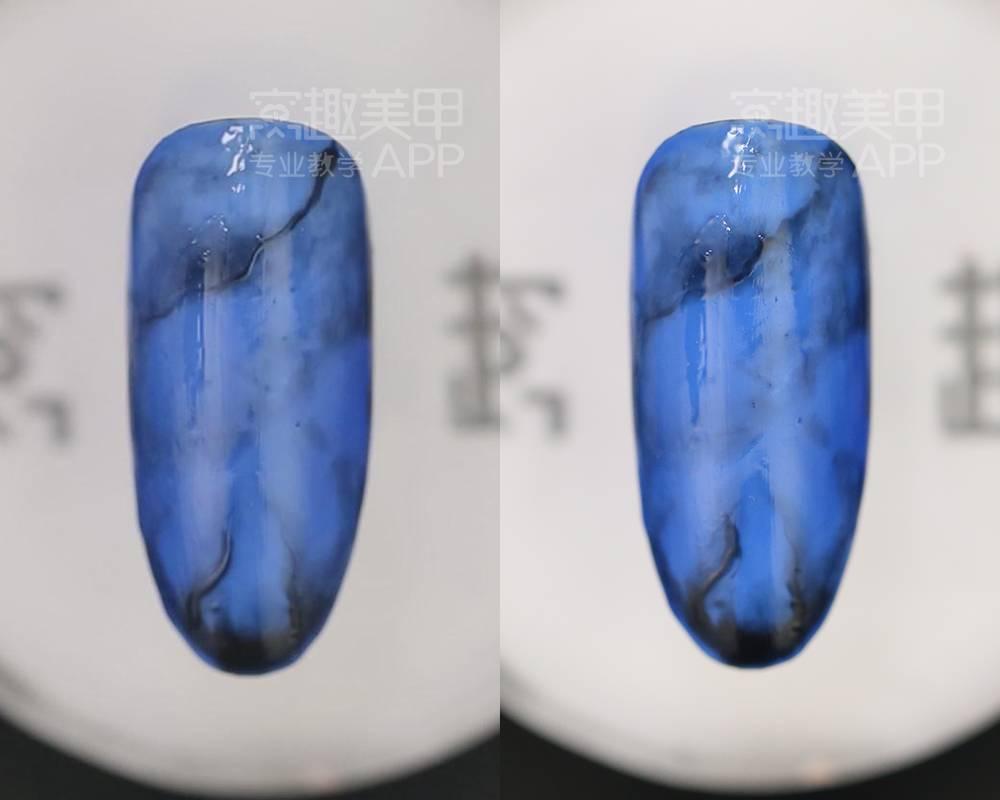 【窝趣美甲视频石纹】教程清透大理蓝色天语ch2线刷包刷机教成图片