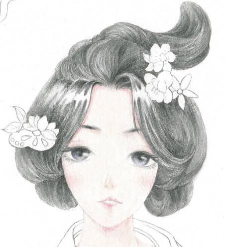 古风半脸头发图片手绘