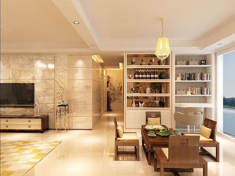 这款白色现代个性酒柜规划在客厅当中显得时尚简约,酒柜上摆放着许多