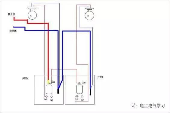 家用照明开关接线图