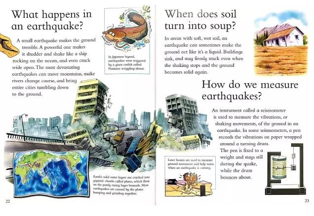 校园地震彩铅手绘