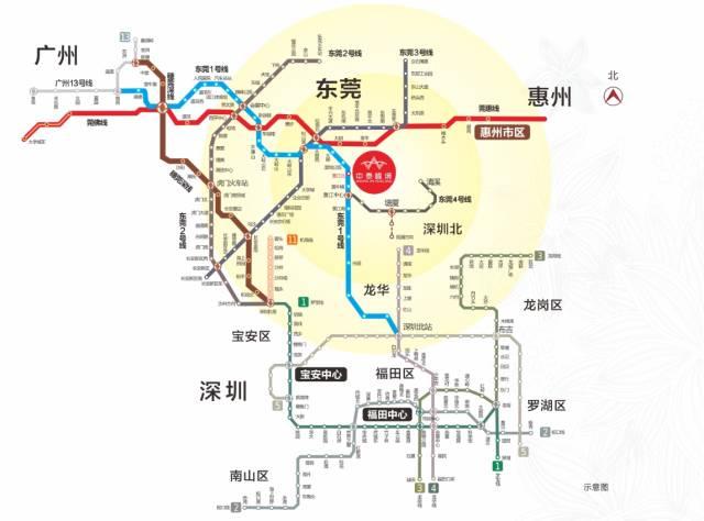 中泰峰境项目邻近东莞地铁1号线(在建)黄江北站,接驳深圳6号线(在建)