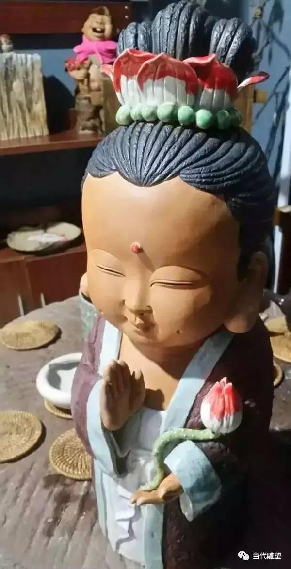 观音卡通陶瓷雕塑