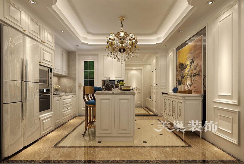 郑州永威翡翠城简欧风格装修效果图——开放式厨房图片