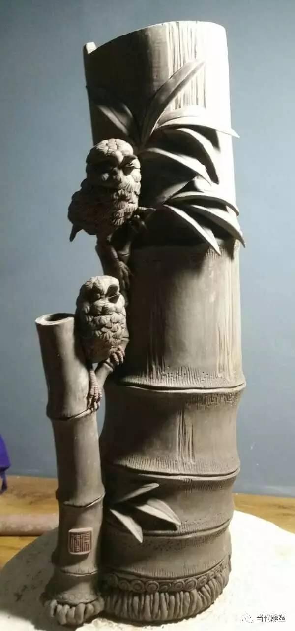 竹子陶瓷雕塑