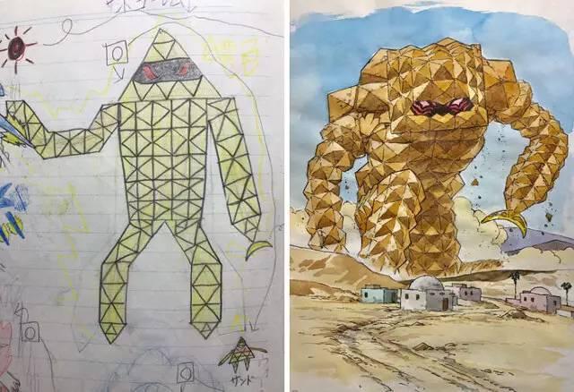 神奇 国外一老爸把4岁儿子的简笔画变成了全新的漫画角色