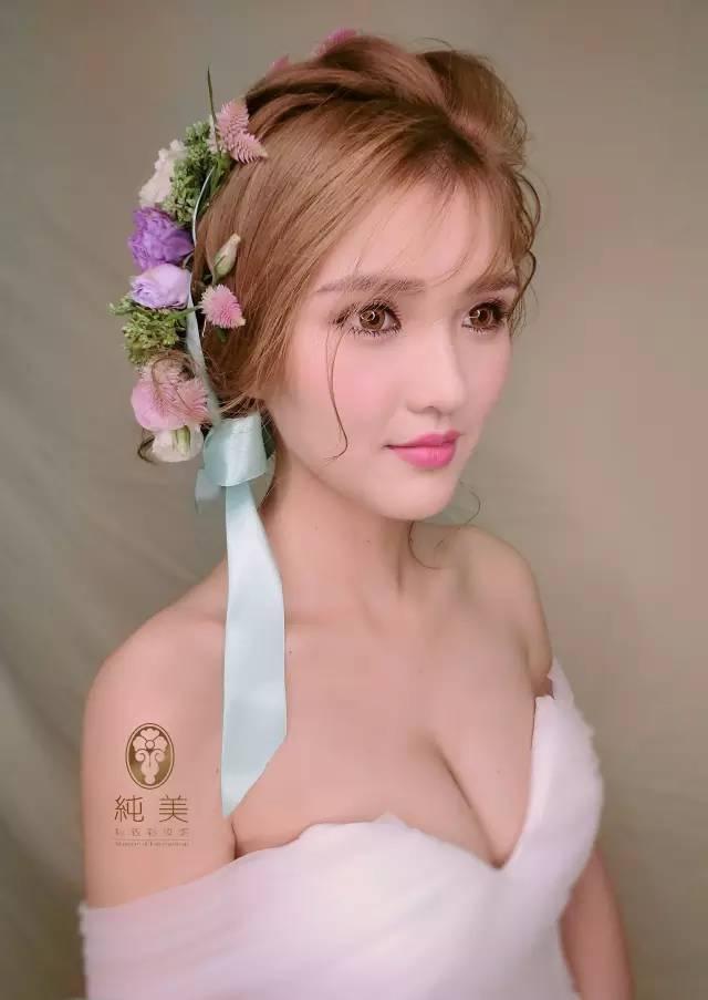 呈现甜美仙气的新娘造型.图片