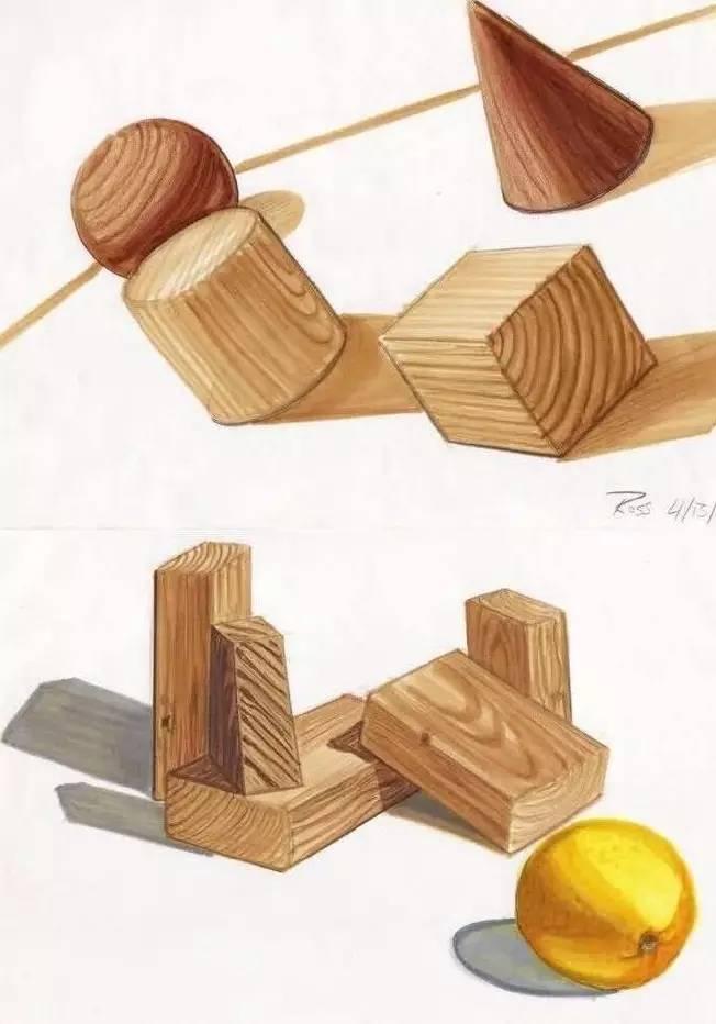 产品手绘中木材的表现技法!