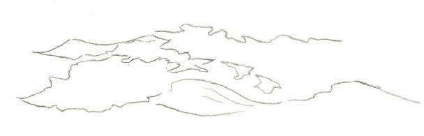 1.首先用铅笔画出流水不同区域的水彩涂层以及起落的水流.图片