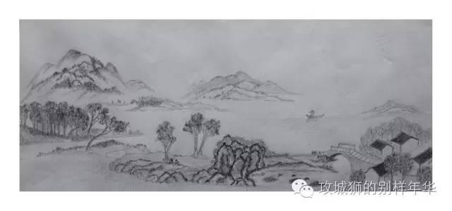 这是用铅笔绘制的山水画.