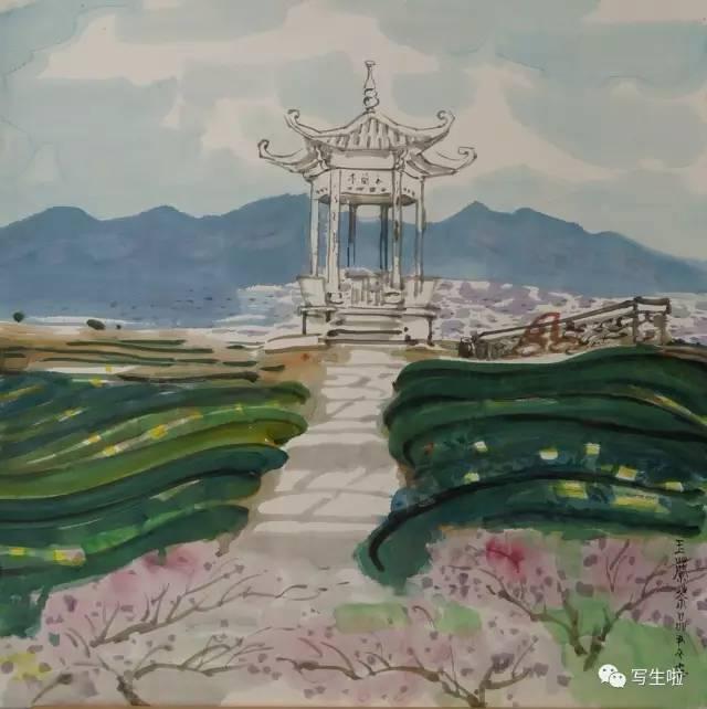 尹文 水彩风景写生图片
