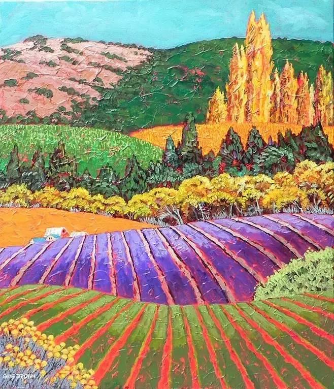 艺术家 gene brown 笔下色彩艳丽的田园风光图片