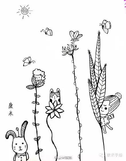 """【康米手绘】""""大自然的你我""""黑白插画教程"""