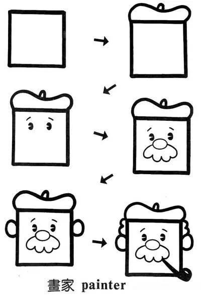 创意图形儿童简笔画--正方形变变变!图片