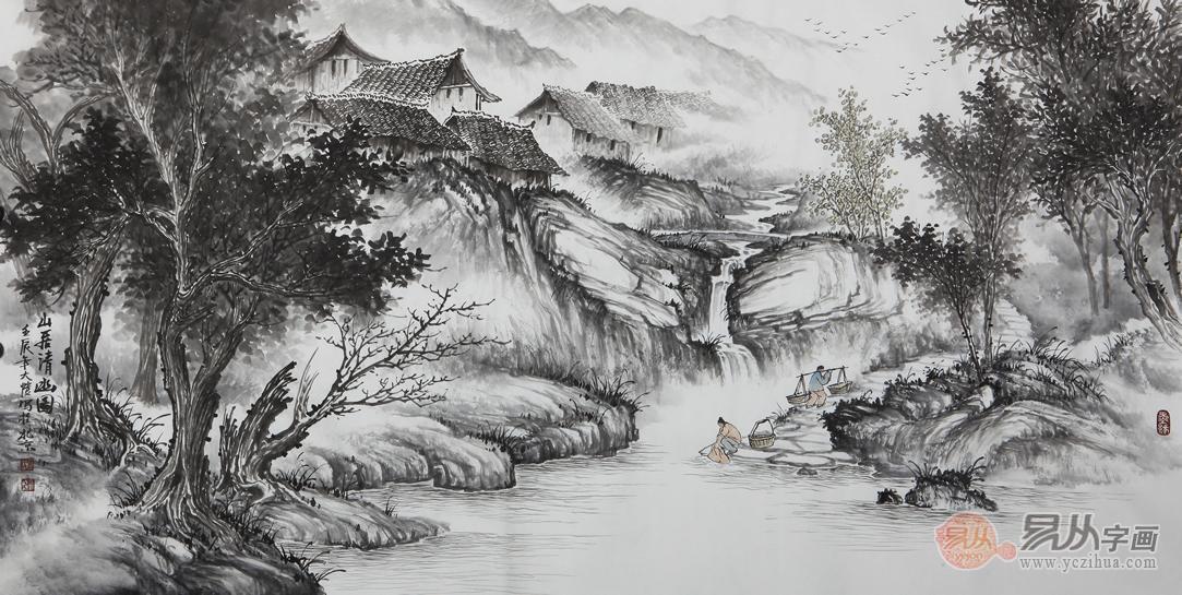 吴大恺四尺横幅山水画作品《山居清幽图》图片