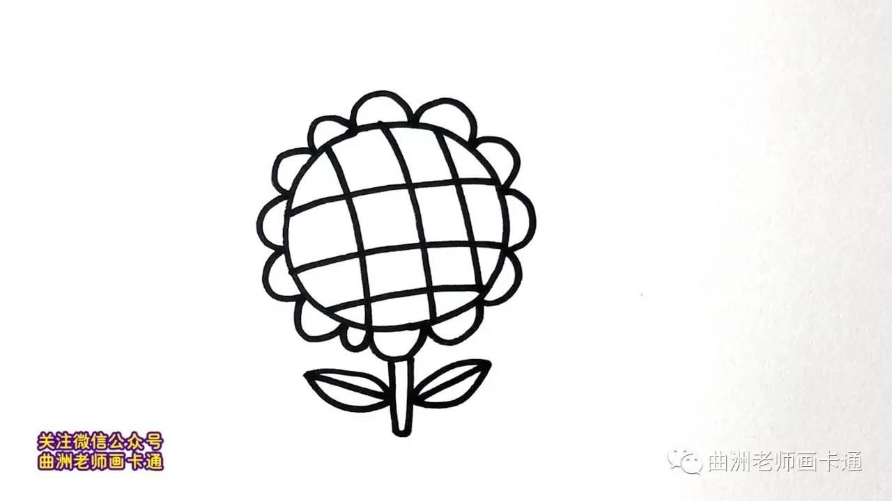 曲洲老师画卡通 少儿简笔画系列 向日葵
