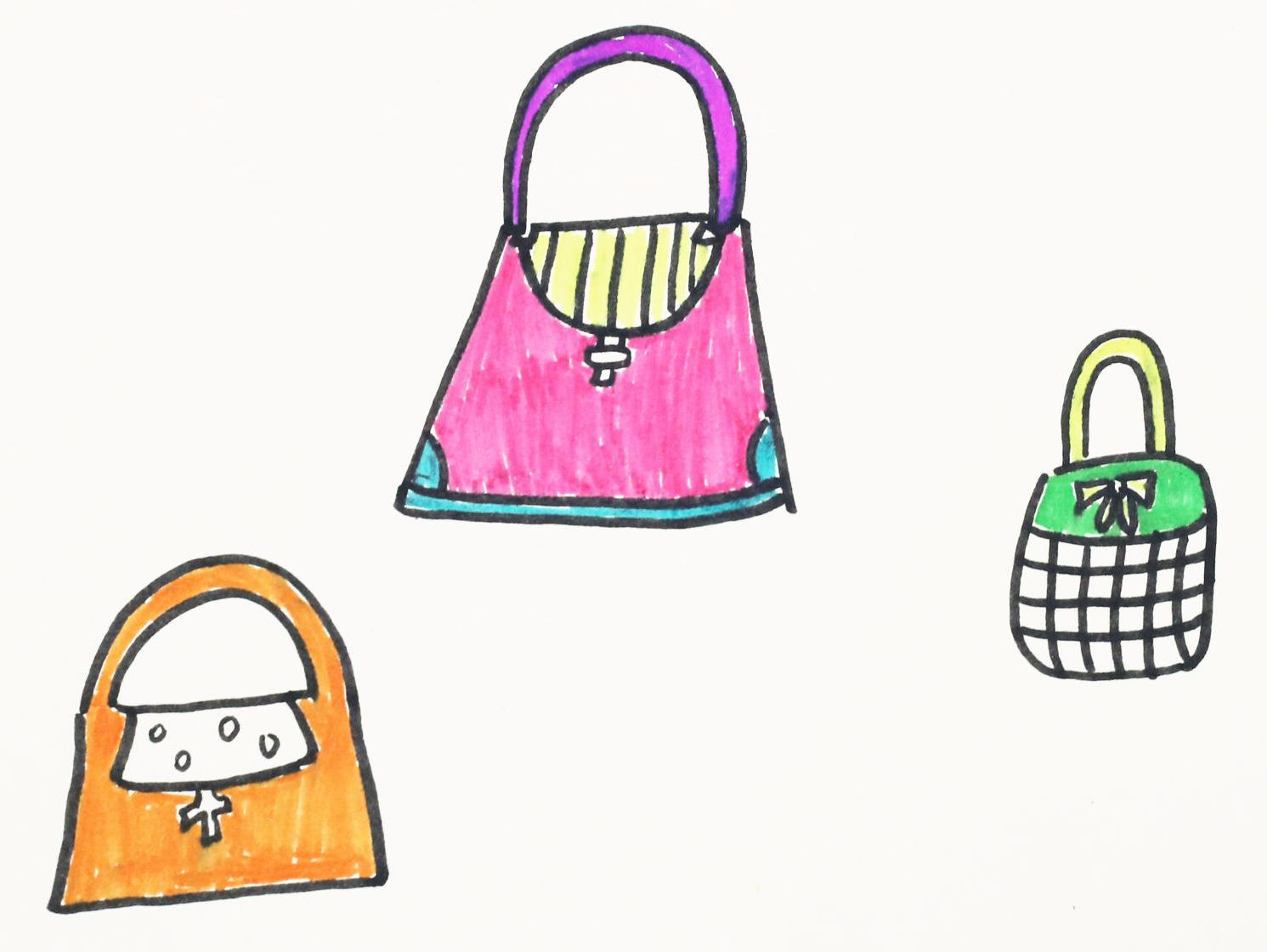简笔画教程,教宝宝如何画出好看的手提包