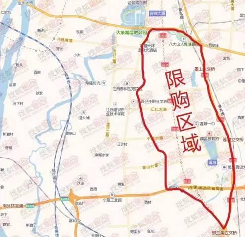 其它 正文  南昌县的限购范围为: 雄溪河以东,迎宾大道(莲塘排渍道至