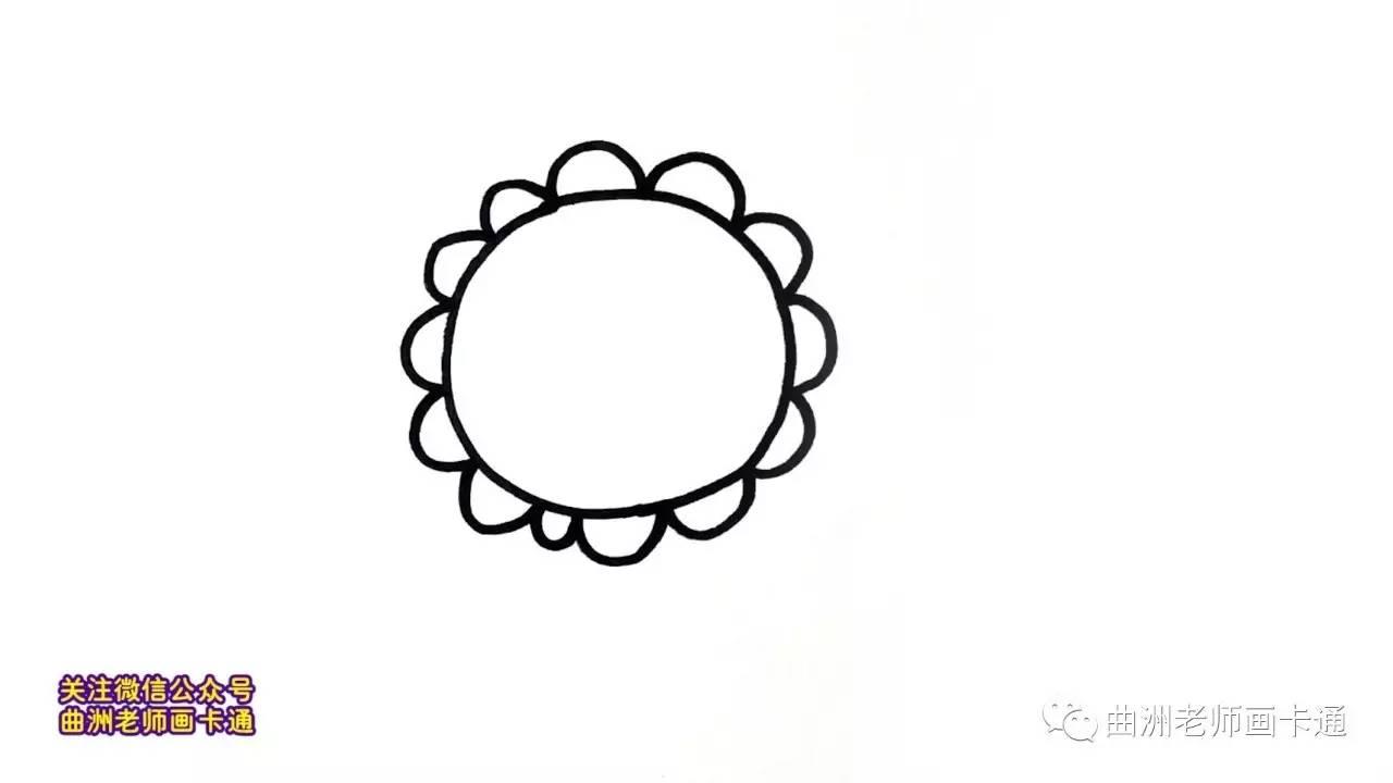 曲洲老师画卡通:少儿简笔画系列—向日葵图片