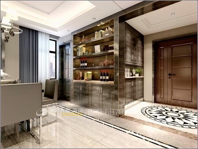 餐厅酒柜,在艺术处理具有新奇的生命力,多元化构成弹性空间,香港的